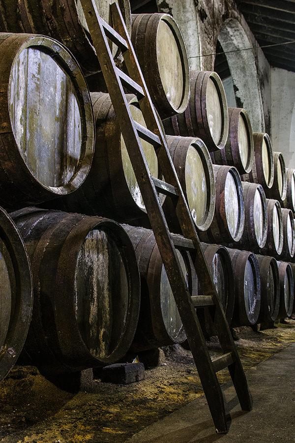 Sherry-Fässer findet man in Jerez in unzähligen Kellern