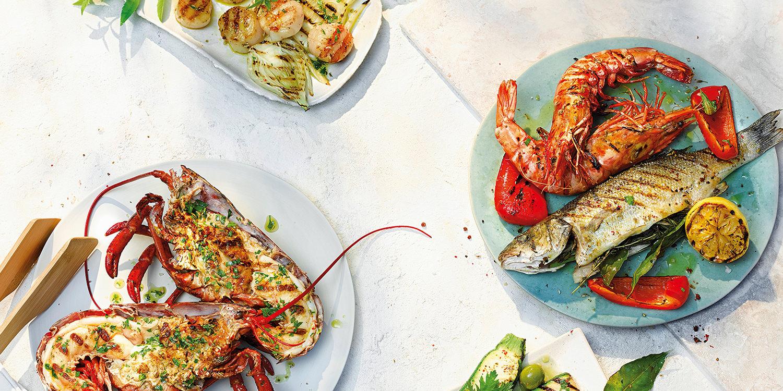 Aromatische Meeresfrüchte und Gemüse vom Grill