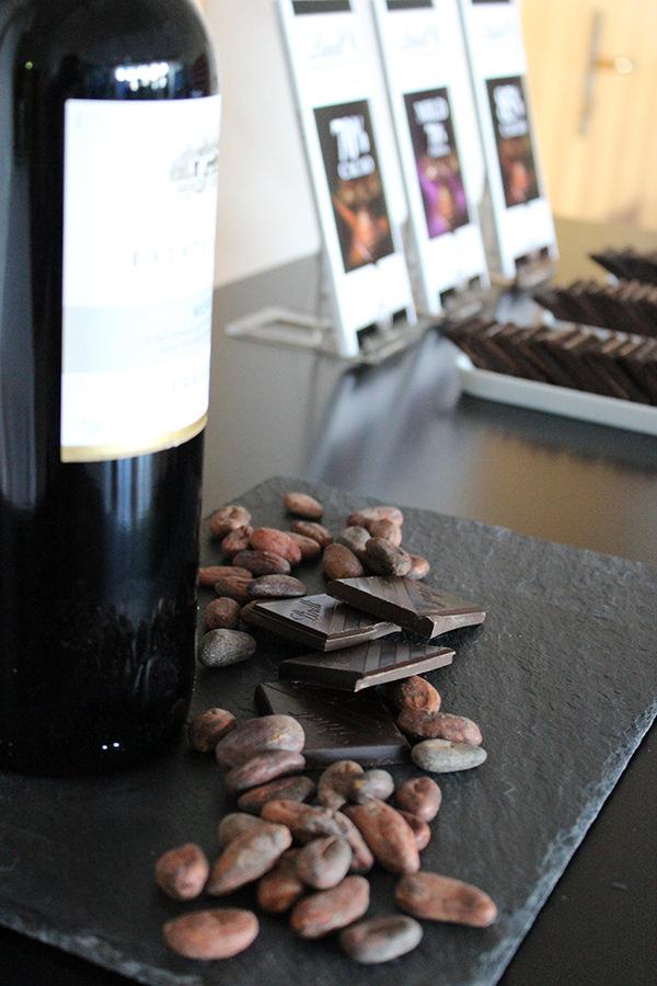 Wein und Schokolade in Kombination